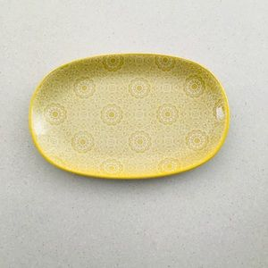 Ceramic platter serving tray yellow floral VGC